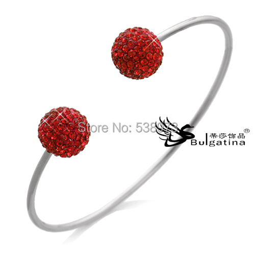 Atacado bracelets silver plated bow shape bangles two balls full beads new - Disha Findings store