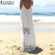 Buy Sleeveless 2017 ZANZEA Summer Women Lace Patchwork Vestido Casual Loose Long Maxi Dress Sexy Strapless White Beachwear Plus Size for $8.99 in AliExpress store