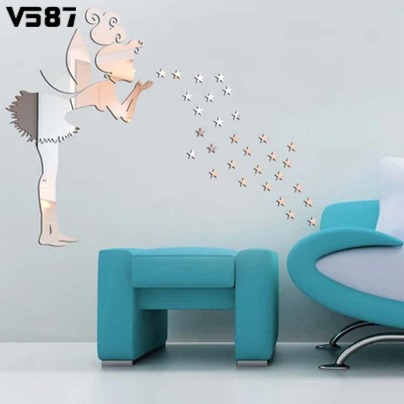 3D Mirror Angel Magic Fairy Stars Wall Sticker Home Art PVC Removable Stickers Kids Bedroom Window DIY Decal Decoration