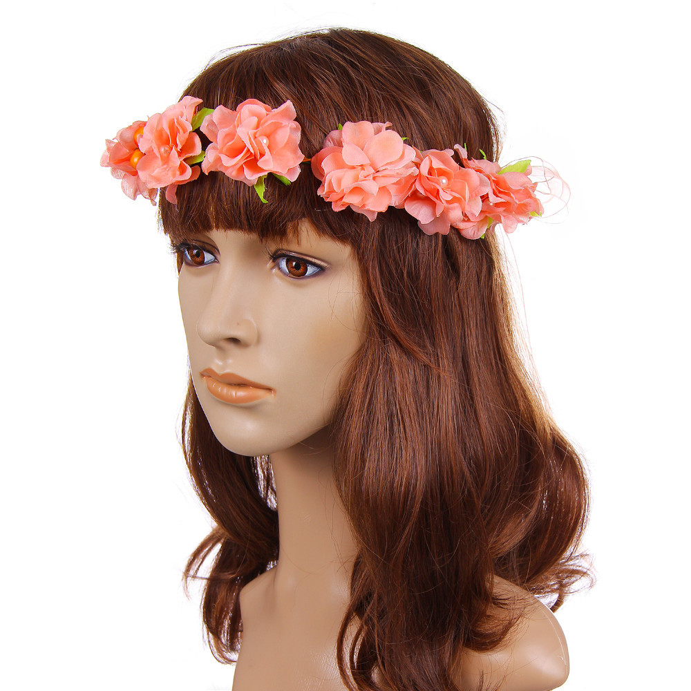 Xestival 4 Colors Fashion Floral Crown Garland Flower Headband Adjustable Wedding Hair Accessories Handmade Bride Decoration(China (Mainland))