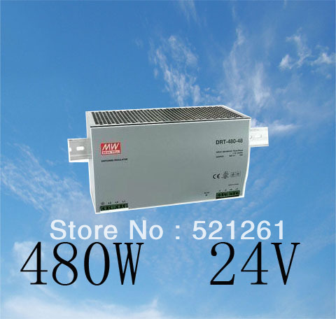 Din rail power supply 480w 24V power suply meanwell ac dc converter DRP-480S-24 Original MeanWell 480W 20A 24V Industrial(China (Mainland))