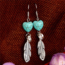 Outstanding design jewelry shiny feather shape Turquoise Lady/Women dangle earrings for gift(China (Mainland))