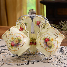 European Style 2 Persons Coffee Cup Set Creative Gift Ivory Ceramic Black Tea Cups And Saucers Vintage Afternoon Tea Set(China (Mainland))