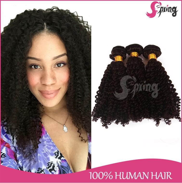 Spring hair 3 pieces/lot virgin human hair brazilian kinky curly hair 7A grade natural color hair extension(China (Mainland))