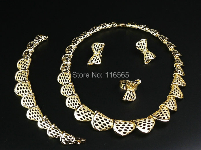 18k Gold Filled Austrian Crystal Necklace Bracelet Earring Ring Jewelry Set Women Collar Wedding Dress Accessories M2310 - Jacky's Fashion Store store