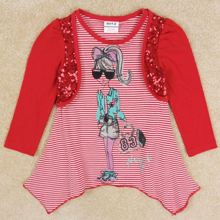 Girls t-shirts  kids wear spring antumn girls long sleeve shirts lovely printed girl's clothing (China (Mainland))