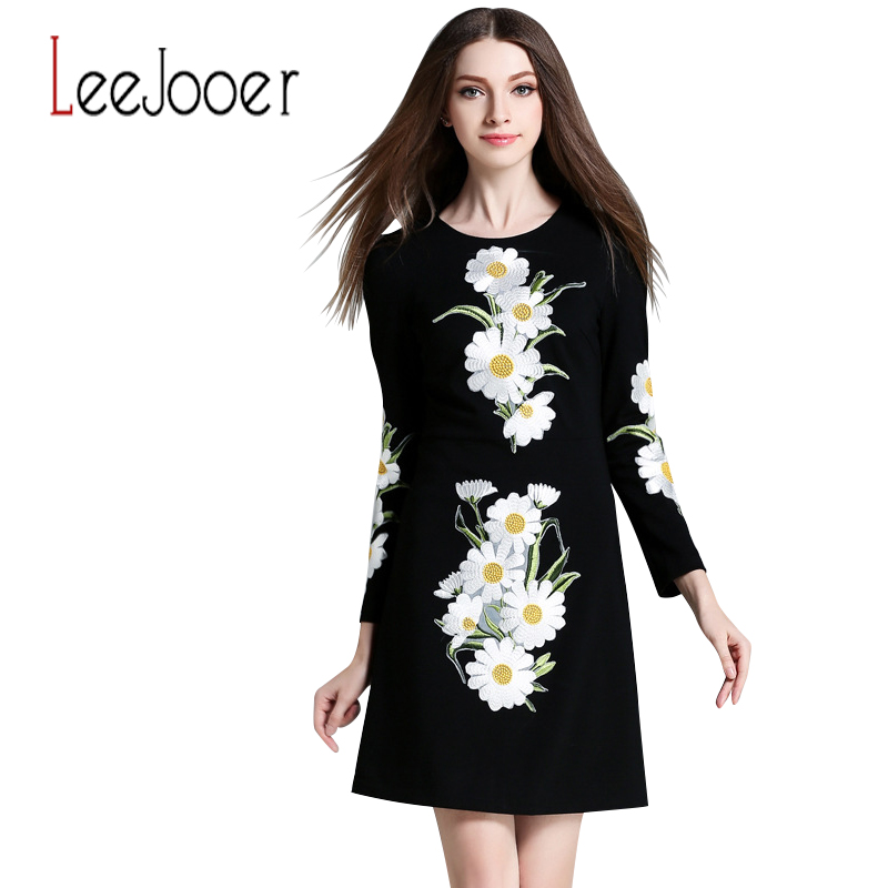 Leejooer Womens Elegant Embroidery Autumn Dress 2016 Fashion European Style Casual Vintage Long