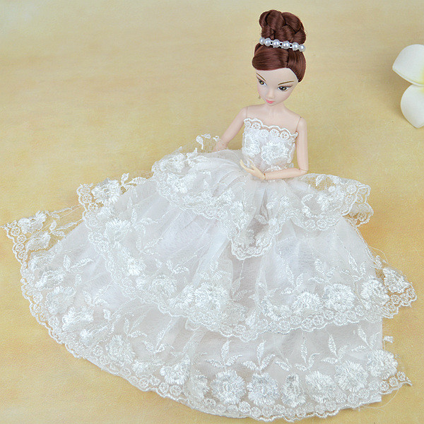 Distinctive White Satins Lace Spherical Flower Embroider Gown Robe Vogue Outfit Clothes For 1/6 Kurhn Barbie Doll Child Toy Present