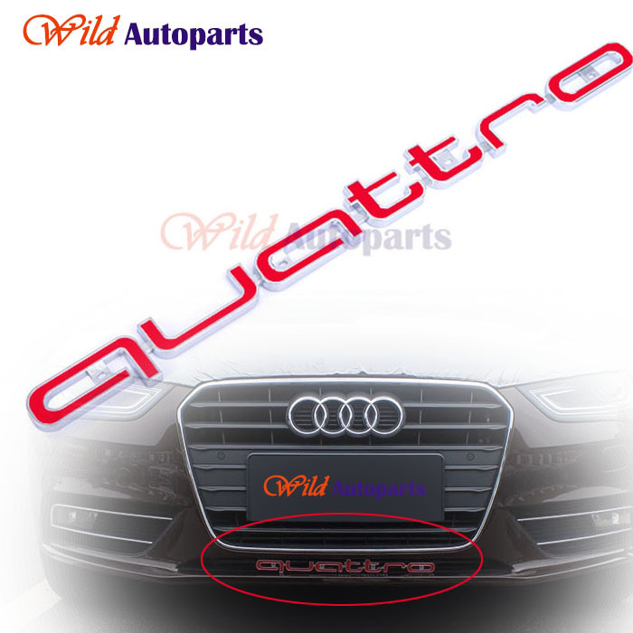 Red Quattro RS Sline Avant Front Grille Badge Emblem Trim Accessories for Audi A3 A4 A5 A6 RS3 RS4 RS5 RS6(China (Mainland))