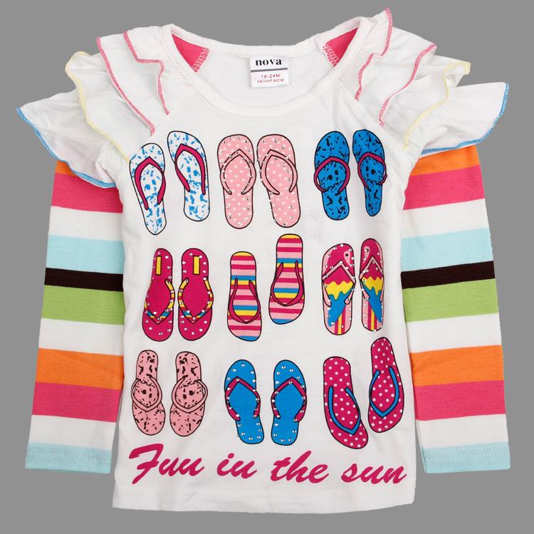 New 2014 t-shirts, cotton long sleeve children t shirts, cute necktie cartoon t-shirts,girls t-shirts, nova kids F4252D<br><br>Aliexpress