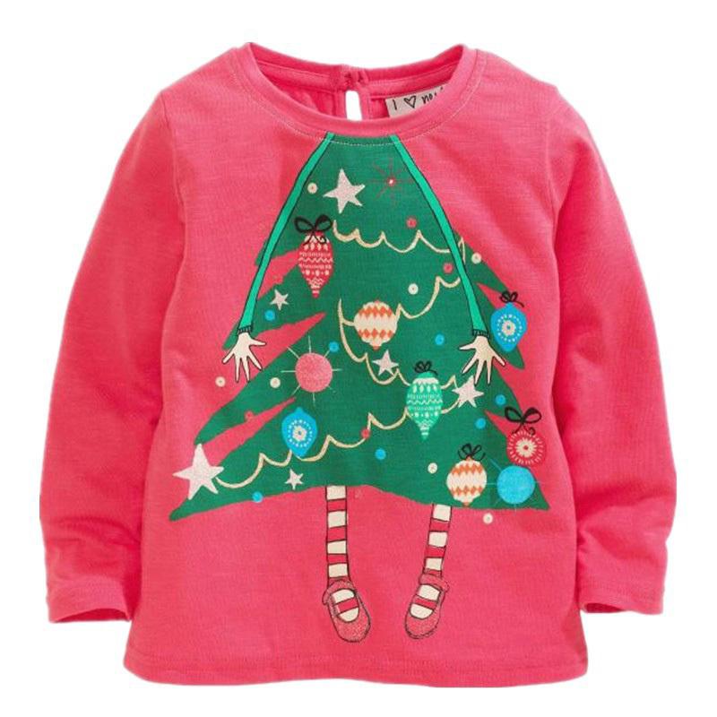 christmas trees design Girls long-sleeved T-shirt,Leisure o-collar Hot Pink kid t shirt brand kid boy t shirts with full sleeve(China (Mainland))