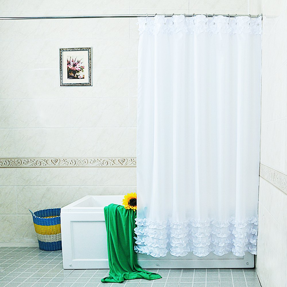 2016 New Arrival Fashion Home Decoration Polyester Shower Curtain Lace Decor Waterproof Bathroom Cover with 12Pcs Hooks(China (Mainland))