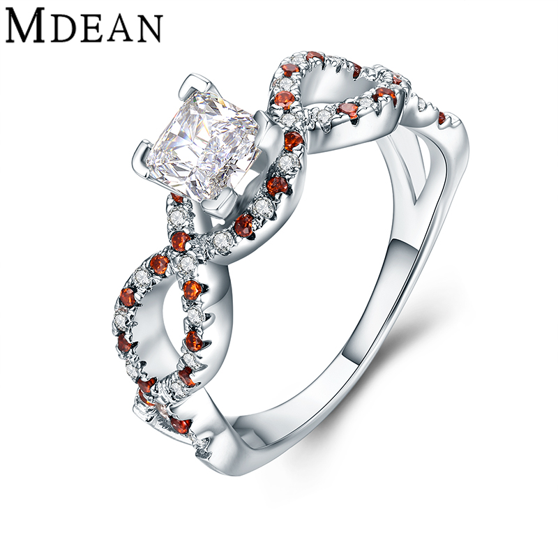 MDEAN Wedding Rings for Women Genuine 925 Sterling Silver Jewelry Solid Pure Orange and Clear CZ Diamond Engagement Bague MSR479(China (Mainland))