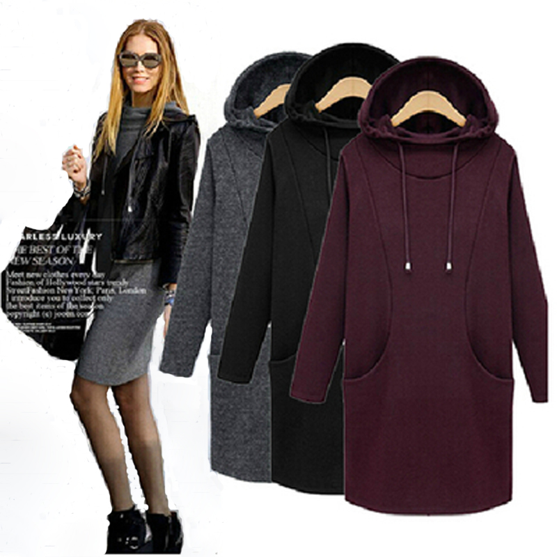 Hot Sale Women Winter Dress 2015 New Fashion Pure Color Casual Dress Long Sleeve Autumn