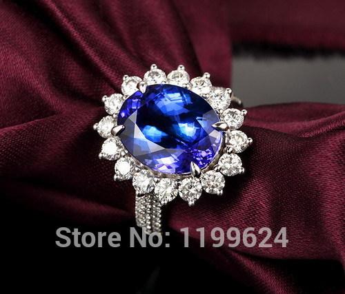 Free shipping-Jewelry Set Solid 14k White Gold Violet Blue Tanzanite Diamond Engagement Ring(China (Mainland))