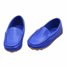 WOTT รองเท้าเด็กใหม่รองเท้าแฟชั่นคลาสสิก PU รองเท้าสำหรับสาวรองเท้าแบนสบายๆรองเท้าเด็ก (Royal Blue)(China)