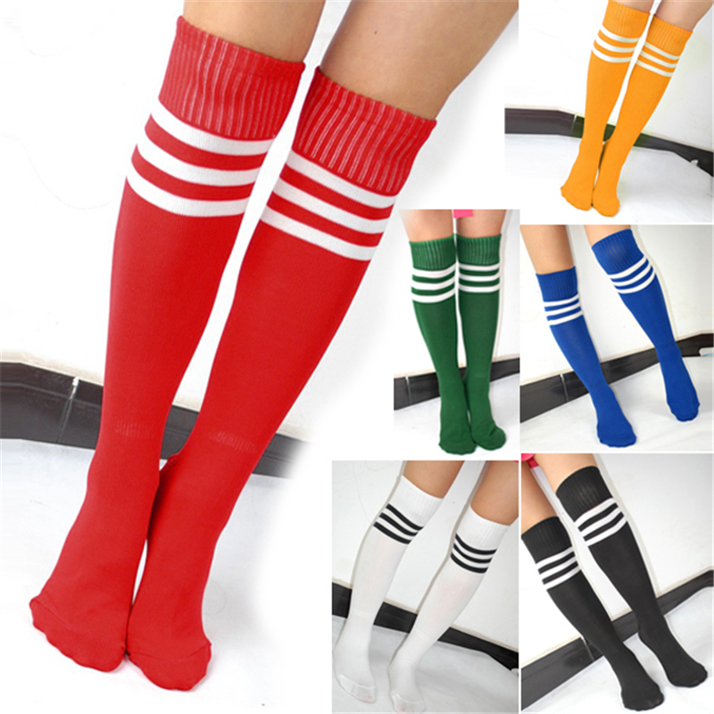Hot Fashion Girl's Football ElasticHigh Stripe Knee Socks Thigh High - 7 Colors Selectable # 13607(China (Mainland))