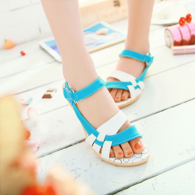 New flat kids shoes sandals girl student with flat shoes girls shoes