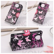 Fashion Leather Wallet Flip Cover Case Sony Xperia E54 X XA Z Z1 Z2 Z3 Z5 Compact M2 M4 M5 Flower Butterfly Shell Bags Coque - BS&P International Trading Corporation store