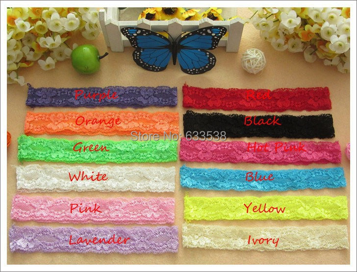 Wholesale 240pcs /lot 12 colors Baby Stretcher Elastic Lace Hair Band Headbands Headwear Kids Hair Accesories(China (Mainland))