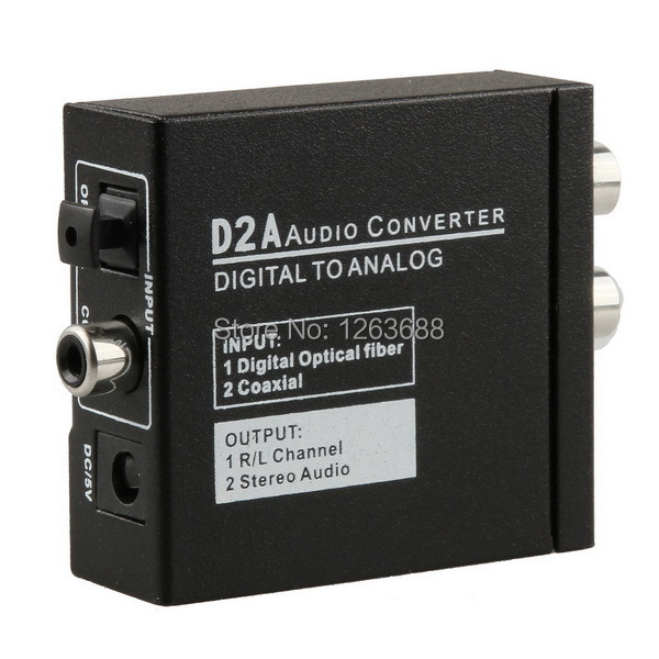 Mini D2A Optical Coax Coaxial Toslink Digital to Analog RCA L/R Audio Converter Free shipping(China (Mainland))