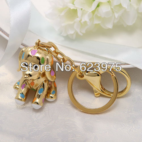 Gold Puppy With Rhinestone Keyring & Key holder in Velvet bag Wedding Favor (Set of 4 Pieces)(China (Mainland))