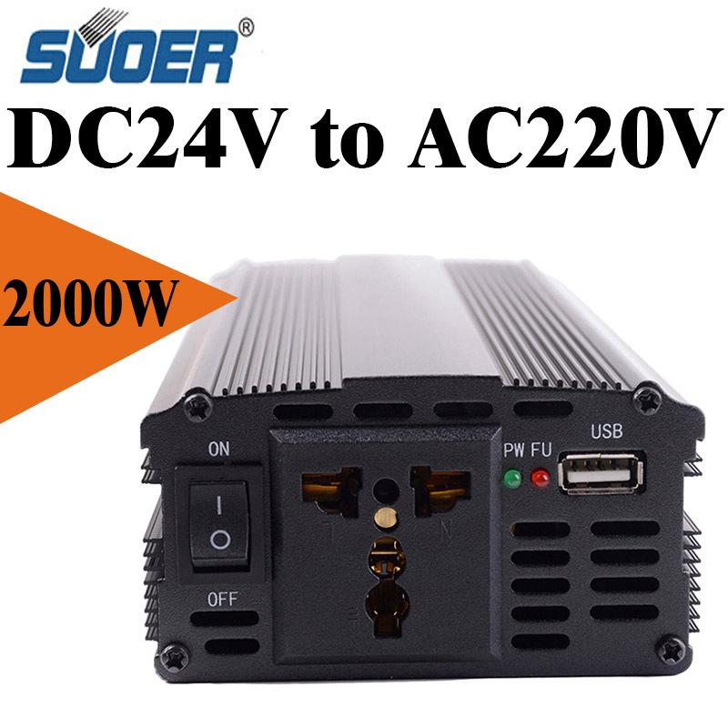 HOT 2000W Car Vehicle USB DC 24V to AC 220V Power Inverter Adapter Converter-Black(China (Mainland))