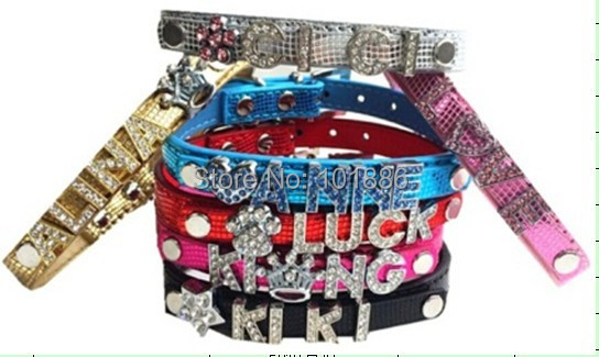 10MM Bling Personalized Dog Collar With Rhinestone Buckle DIY Name Pet Puppy Cat Collars (exclude letters and charms) )(China (Mainland))