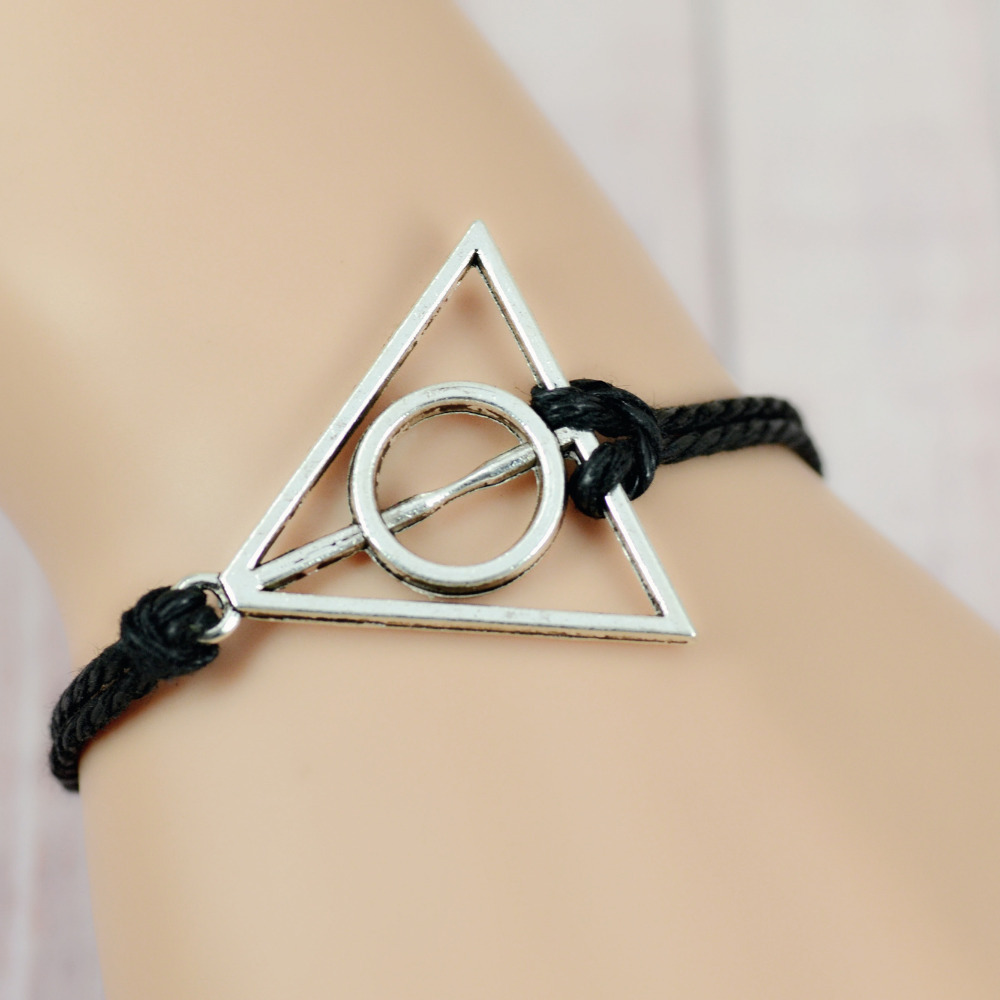 New Harry Potter Charm Bracelet New 2014 Hand-woven 16 Colors Antique Silver Pendant Wax Rope Bracelet Best-selling Jewelry(China (Mainland))