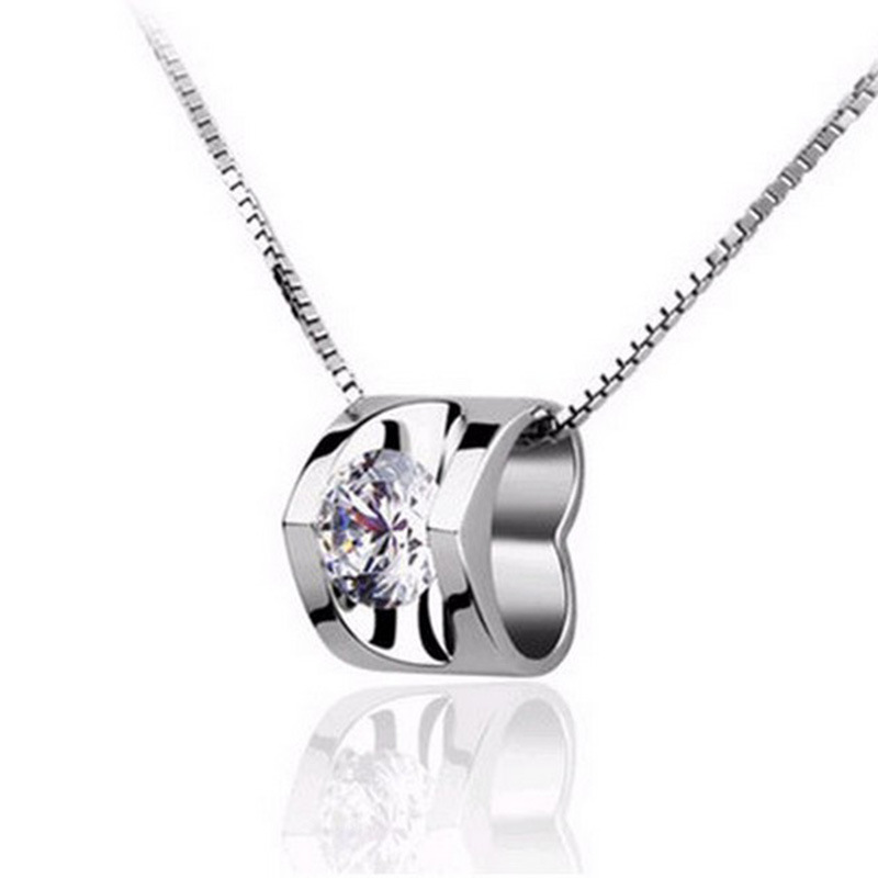 Elegant Exquisite Sterling Silver Jewelry 925 Silver Heart shape pendant necklace Shiny CZ diamond Chain Necklace