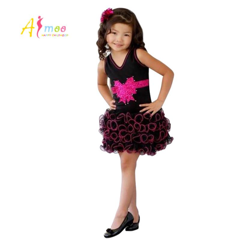 Girl Children Evening Dress 2016 New Highest Quality Summer Children Clothing Princess Kids Girls Cotton Nylon Prom Dress AFMOO(China (Mainland))