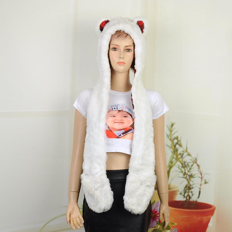 Fashion Women Faux Fur Hood Animal Hat Ear With Long Scarf Wolf Fur Hood Hat Paws Beanie Cap Winter Cartoon Hat High Quality(China (Mainland))
