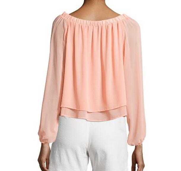 Европейский стиль шифон блузы длинный рукав плиссировка задняя часть блузка дамы офис рубашки женщины блузка