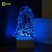 Star Wars Lampada 3D Visivo Led Night Lights per I Bambini Robot R2-D2 Touch USB Da Tavolo Lampara come Inoltre Lampe Bambino Che Dorme Nightlight(China (Mainland))