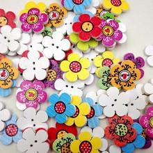 Buy New style 50Pcs Flower Shaped Home Decoration Crafts Wooden Buttons Scrapbooking 2Holes Mixed Wood Sewing Buttons for $1.02 in AliExpress store