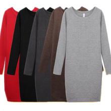 Plus size winter dress XS - 5XL 6XL,FASHION Autumn women thickening long sleeve basic  dress,bodysuit office dresses black gray(China (Mainland))