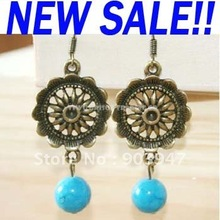 Sunburst Medallion turquoise drops Earrings Lovely vintage cheap jewelry (5.5CM) ers-f23(China (Mainland))