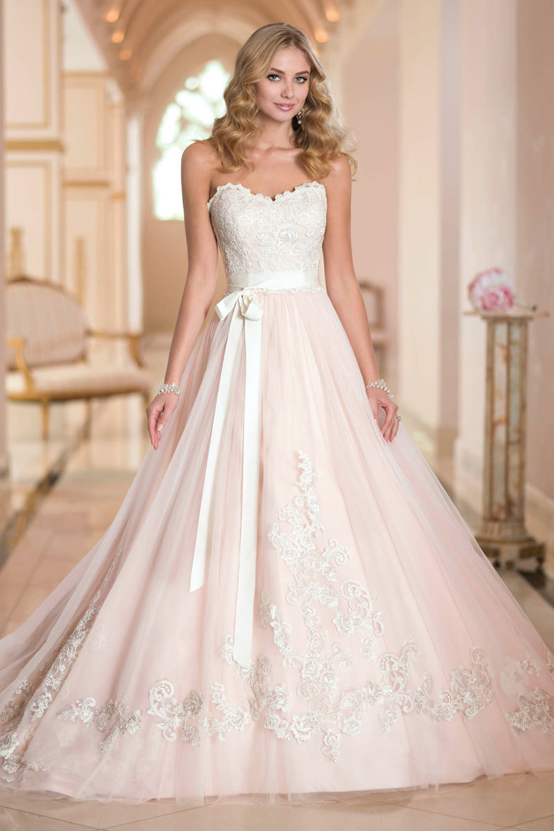 Lovely champagne ball gown lace up ribbons sash court for Champagne ball gown wedding dresses