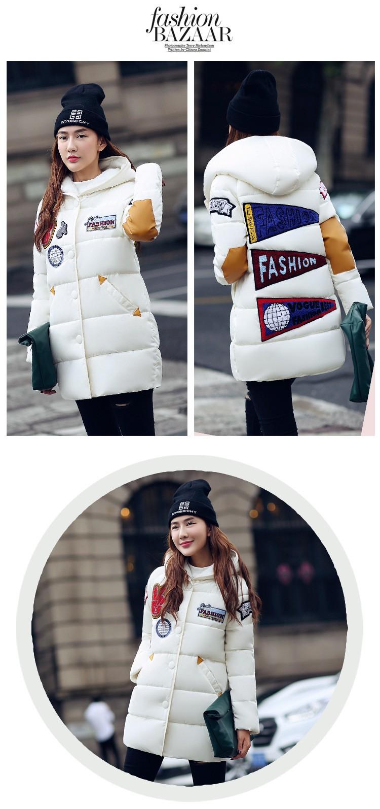 Скидки на New2016 зимняя куртка плюс размер женщин печати парки duck down loose fit пальто средней длины pathchwork snowear шинель зимнее пальто