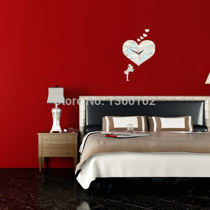 2015 Sale Wall Clocks New 3d Diy Home Decor Mirror Fairy Hearts Art Stickers Safe Watch Acrylic