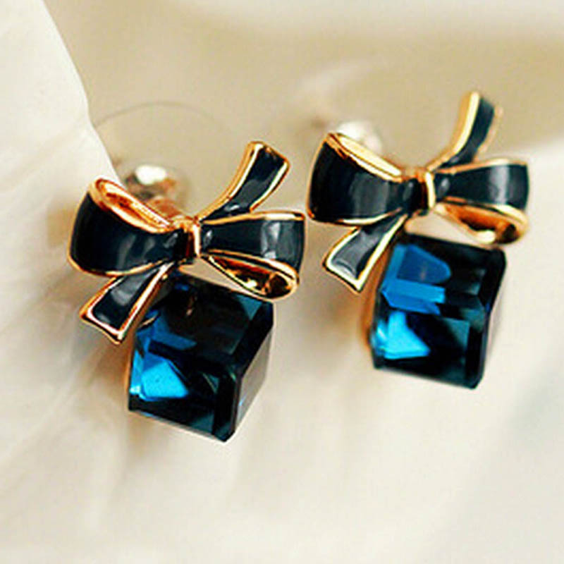 New 1 Pair New Women Bowknot Dangle Shiny Cube 3D Crystal Ear Studs Piercing Jewelry For Women Earring(China (Mainland))