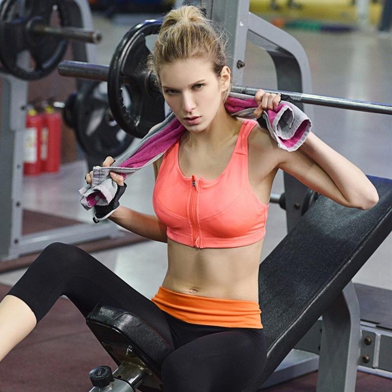 Womens Fashion shock-absorption No rims zipper type sports and fitness bra<br><br>Aliexpress