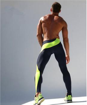Мужские спортивные леггинсы фитнес упругие фитнес брюки ездить работает основной мужской леггинсы спорт на открытом воздухе комплексные кроссовки