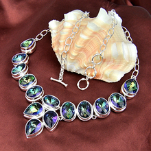 new 2015 Top Quality 925 sterling sliver Jewlery Rainbow mystic topaz necklace for women wedding Party