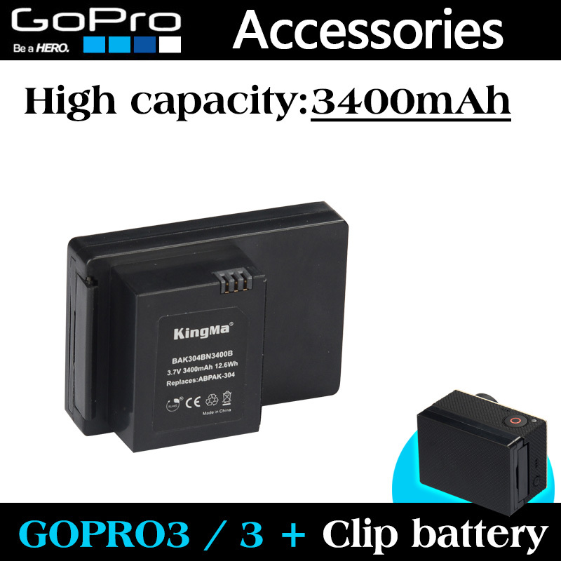 Gopro Accessories Gopro Battery 3400mAh ABPAK 304 ABPAK-304 Clip Batteries For
