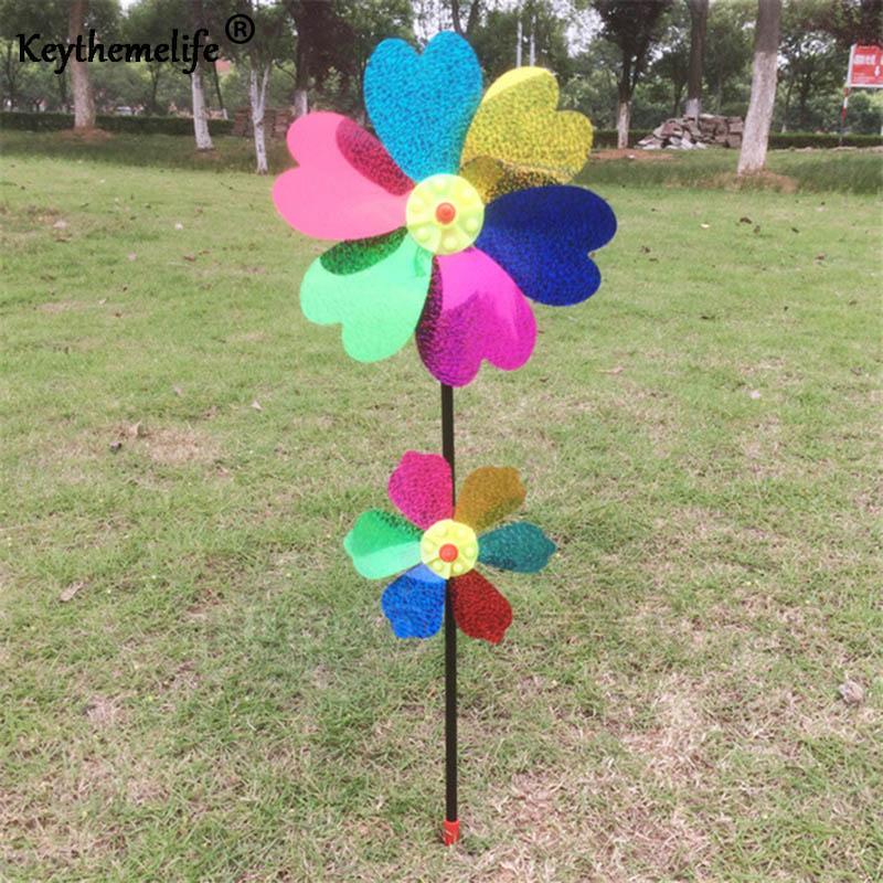 Keythemelife Creative Multicolor Wind Spinner Whirligig Garden Windmill Plastic for Garden Decor CF(China (Mainland))