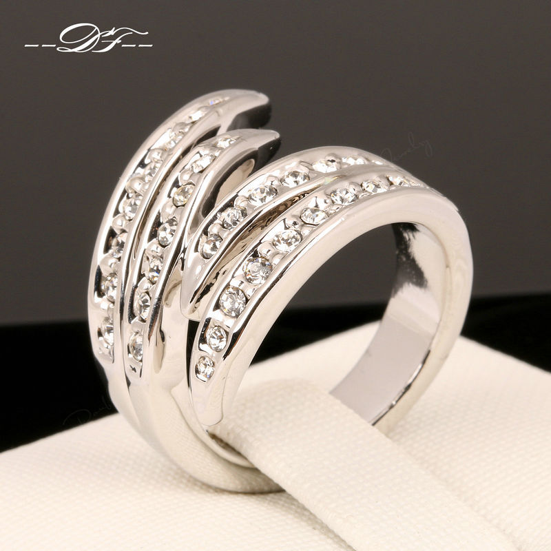 Hot Sale Love Wings Designer Finger Rings 18K Rose Gold Plated Fashion Brand CZ Diamond Jewellery/Jewelry For Women DFR114(China (Mainland))