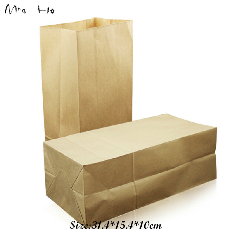 100pcs/lot 33.4*17.8*11.2cm Kraft Paper Small Gift Bags Sandwich Bread Food Bags Party Wedding Favor Free Shipping PP661(China (Mainland))