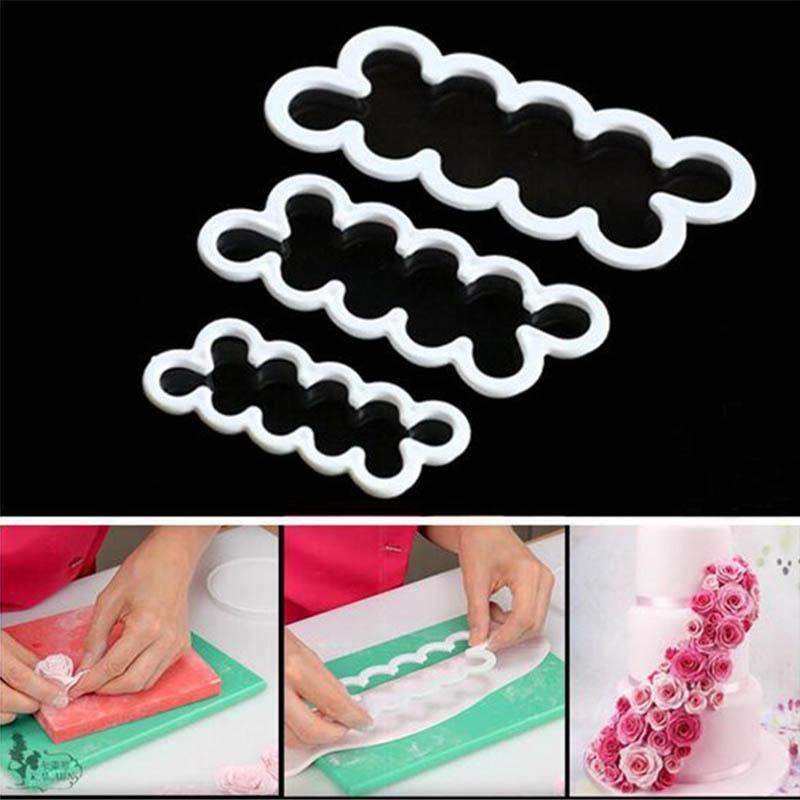 3pcs set rose flower petal mold fondant mould chocolate sugarcraft DIY cutter mould for decorating white cake tool UIE210(China (Mainland))