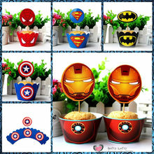 Freeshipping Baking DIY 12sets Paper Cupcake Toppers+Wrap Super Heroes 5 styles Kids Wife Gifts Kitchen toys Party Decoration(China (Mainland))